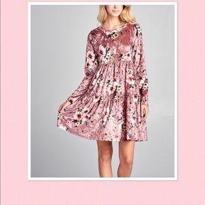 Pink Floral Velvet Empire-Waist Dress